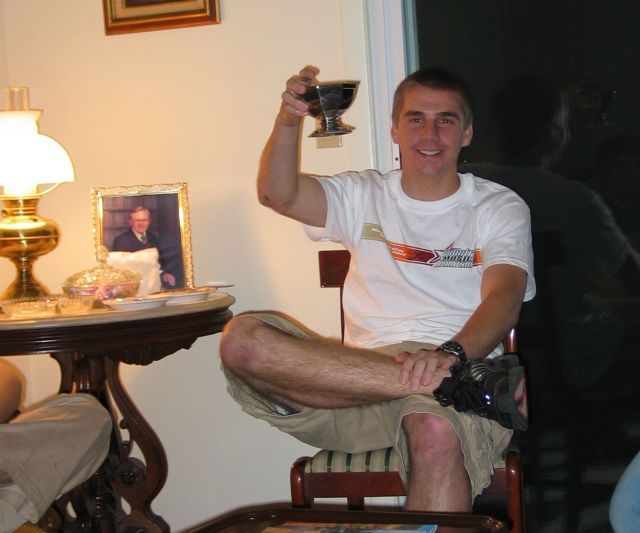 Jesse Dalton enjoying his hot tea from Joey's Tea Set
